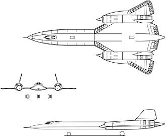SR-71 3-view drawing