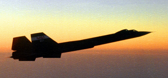 SR-71 flying at sunset
