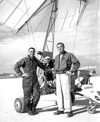 NASA Dryden pilot Milton Thompson and NASA astronaut Gus Grissom are pictured with the modified Paresev