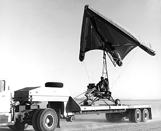 The inflatable wing tested on Paresev 1-C mounted on a flatbed truck