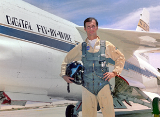 Pilot Gary Krier in front of F-8 DFBW