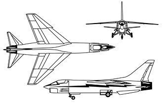F-8 DFBW 3-view drawing