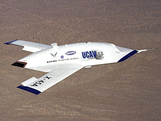 The first X-45A technology demonstrator completes its sixth research flight on Dec. 19, 2002. NASA Photo by Jim Ross