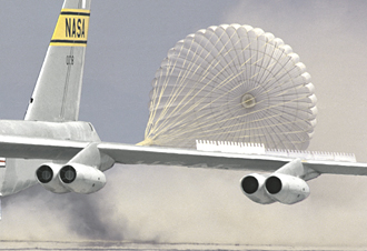 B-52 Shuttle Drag Chute test landing