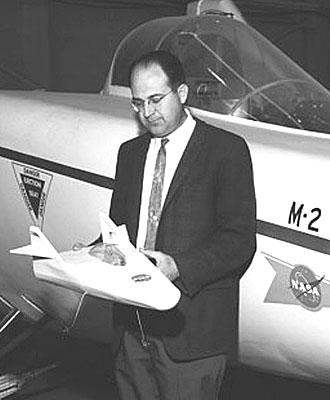 Dale Reed holding Lifting Body model