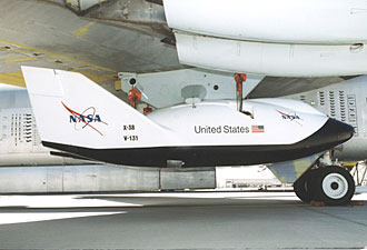X-38 Emergency return vehicle under B-52 wing