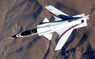 X-29 in flight view from above