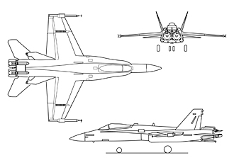 F-18 3-view drawing