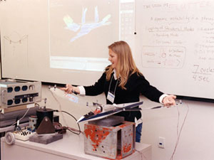 Dryden engineer Starr Ginn plays host to a student group for her workshop on structural dynamics,