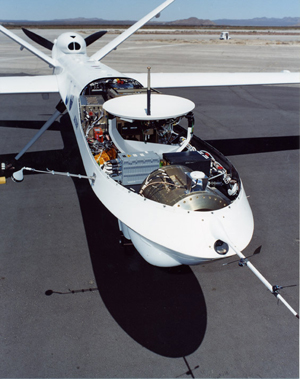 The Altair aircraft is outfitted for a series of missions conducted for the National Oceanic and Atmospheric Administration. Dryden assisted NOAA with that agency's first efforts at completing a science mission with an uninhabited air vehicle.