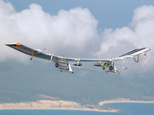 Pathfinder-Plus flies a mission over Hawaii. Upcoming research using a sophisticated atmospheric-turbulence measuring system for a series of low-altitude flights with Pathfinder-Plus will help engineers characterize and model the effects of turbulence on the aerodynamics of lightweight, flexible-str