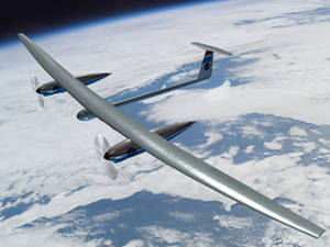 This concept illustration of the 14-Day Demonstrator was developed by Joey Ponthieux, a NCI Information Systems employee at Langley Research Center, Hampton, Va. The aircraft could represent a step toward development of the longer-duration 100-Day Demonstrator.