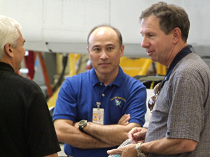New NASA Administrator Michael Griffin, at right, shares an observation with Director Kevin Petersen, left, and F-15B project manager Stephen Corda during Griffin's recent visit to Dryden. Griffin's March 11 presidential appointment to succeed Sean O'Keefe was confirmed by the U.S. Senate on April 14.