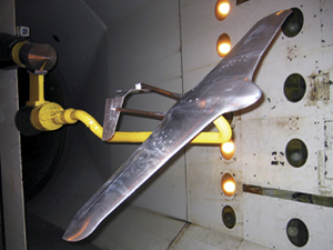 A model of the ARES is shown in a Langley Research Center wind tunnel. NASA Photo