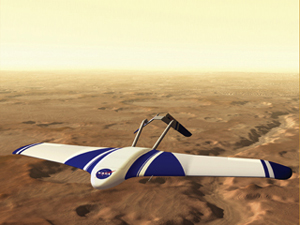 An artist's concept of the Aerial Regional-scale Environmental Survey of Mars, or ARES aircraft. It is believed a planetary flight vehicle like the ARES could survey Mars and gather key information for a manned Mars mission. NASA Illustration by Garry D. Qualls