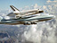 Shuttle Discover atop NASA's 747 in flight