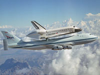 Discovery sits on its host NASA 747 for the journey to Kennedy Space Center.