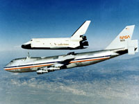 Space Shuttle Enterprise prototype separates from the NASA 747 on its first flight without a tailcone, which had been used in earlier flights.