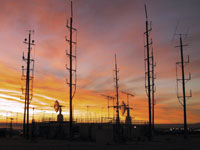 The WATR 'antenna farm' is colorful at sunrise.