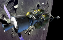 In this illustration, the proposed Crew Exploration Vehicle is seen with its solar panels deployed and docked with a lunar lander in orbit.