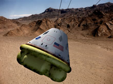 The proposed Crew Exploration Vehicle is expected to look and land much like the Apollo capsules.