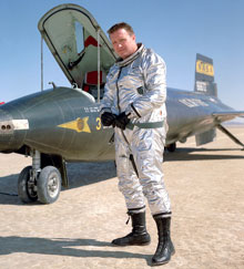 McKay, who died in 1975, is pictured in his flying suit.