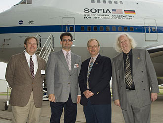 Members of the SOFIA program leadership include, from left, John Carter, Ed Austin, Bob Meyer and Eric Becklin. Aircraft and science aspects of the program will be co-managed by NASA's Dryden and Ames research centers, respectively.