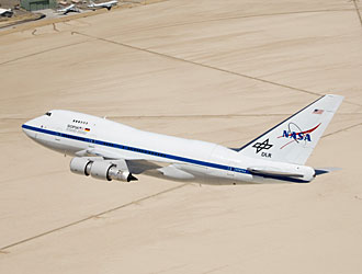 The NASA 747 SOFIA arrives at Dryden from Waco, Texas, where it underwent extensive modification at L-3 Communications Integrated Systems.