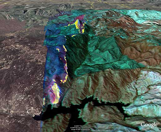 Infrared photo taken by NASA's Ikhana of Harris fire in Southern California.