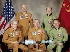 Vance Brand (seated in the center) was part of the Apollo-Soyuz first meeting in space