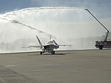 Fullerton gets a welcome home after his last flight in the F/A-18.