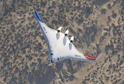 X-48 in flight over California Desert