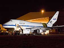 NASA's SOFIA flying observatory was captured in striking relief during nighttime telescope characterization tests in Palmdale, Calif., in March 2008.