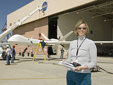 NASA Flight operations engineer Kathleen Howell with Ikhana