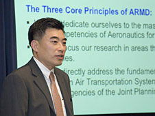 Jaiwon Shin, associate administrator of NASA's Aeronautics Research mission directorate, tells Dryden employees about the state of the directorate.
