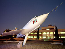 X-1E on stand in front of Bldg. 4800 at NASA Dryden Flight Research Center