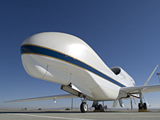 One of NASA's Global Hawk unmanned science aircraft displays its bulbous nose while parked on the ramp at NASA's Dryden Flight Research Center, Edwards, Calif.