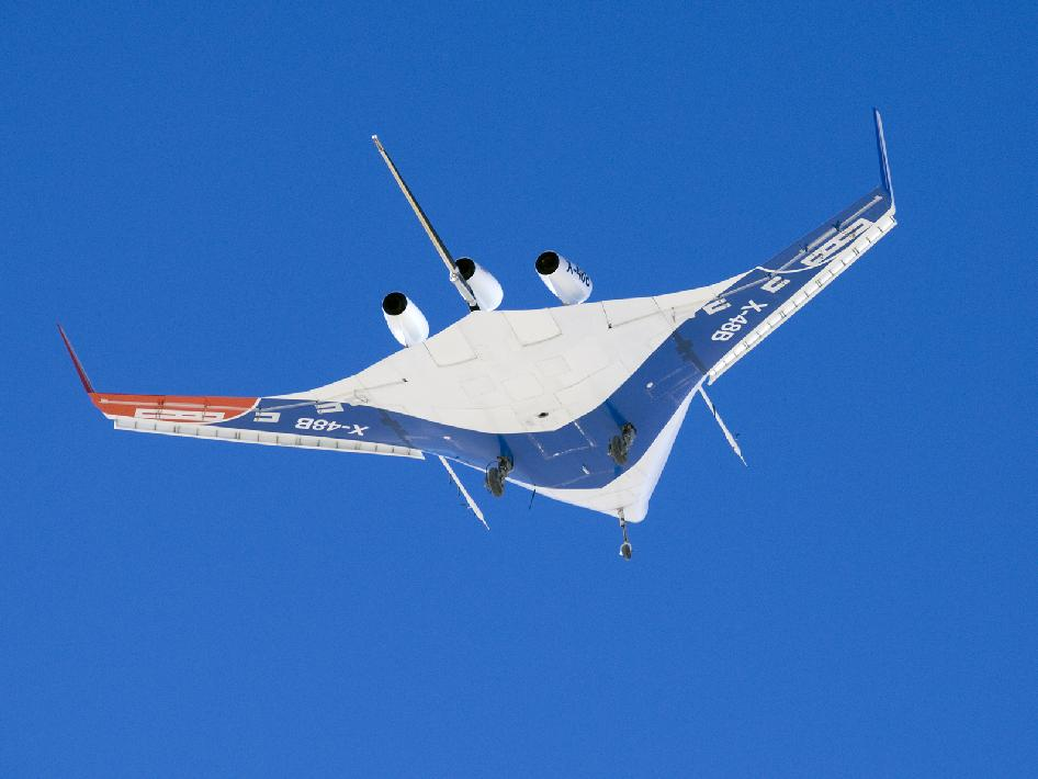 X-48B Blended Wing Body during the aircraft's first flight on July 20, 2007 at NASA's Dryden Flight Research Center.