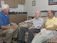 Retired NASA research pilots Tom McMurtry, Bill Dana and Rogers Smith reminisce during the Lancaster JetHawks Class A baseball team's Aug. 9 Aerospace Appreciation Night.