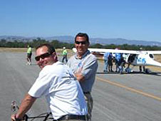 Pilot Will Whiteside joins NASA Dryden's Tony Ginn prior to the CAFE race