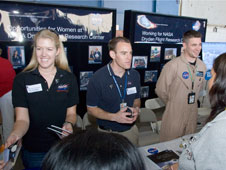 NASA structures and operations engineers explain their jobs at NASA Dryden to high school students attending the annual Salute to Youth career day.