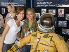 Palmdale High School students Erika Espinoza and Sasheana Busch were just two of hundreds of students who visited the NASA Dryden career exhibits at Salute to Youth