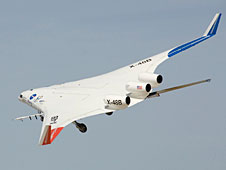 Boeing's X-48B blended wing body aircraft in flight