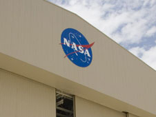 NASAs familiar blue-and-white logo graces Hangar 703 at the Dryden Aircraft Operations Facility in Palmdale, Calif.