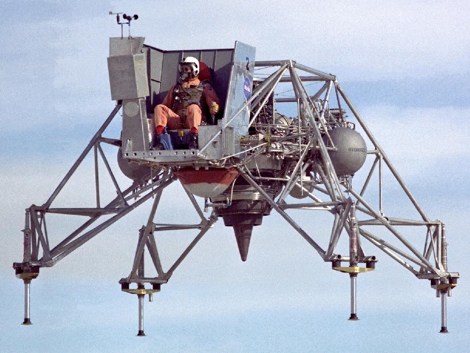 The Lunar Landing Research Vehicle in flight