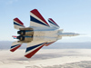 NF-15B banking over California desert as it approaches Dryden Flight Research Center