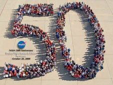 Dryden employees form a large 50 in celebration of NASAs 50th anniversary