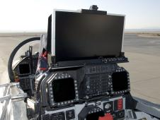 An HD display is mounted on top of the rear instrument panel in NASA's F-18 SRA aircraft.