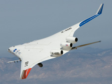 The X-48B Blended Wing Body research aircraft banks smartly during its Block 2 flight phase. (NASA Photo / Carla Thomas)