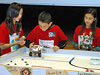 Students race their lego robots.